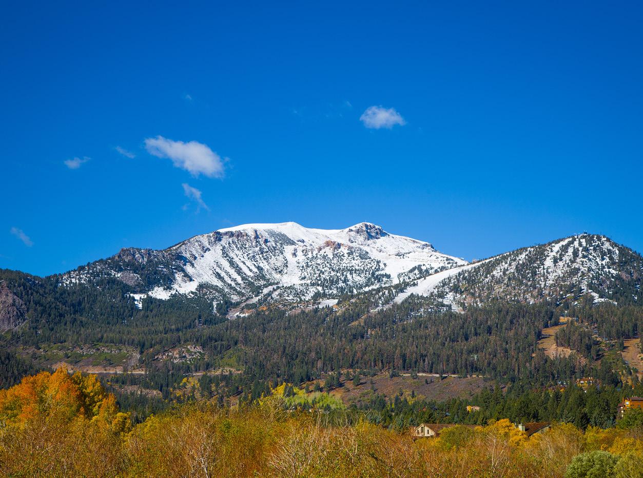 mammoth lake snow peaked mountain