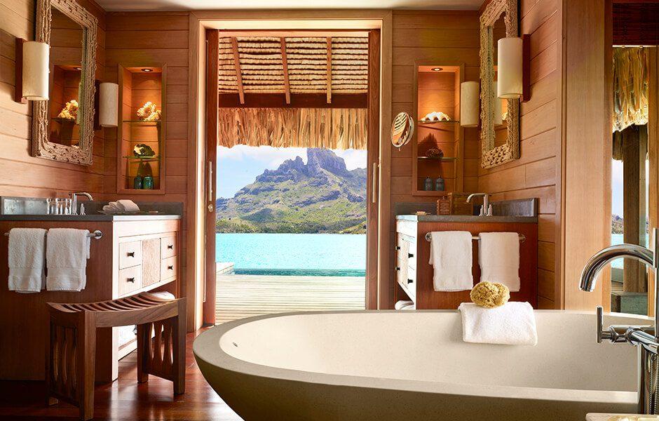 Four Seasons Bora Bora- Bath with a view