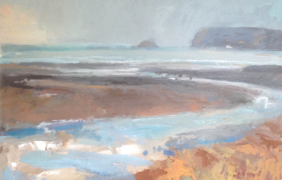 Nina brooke painting evening light over polzeath