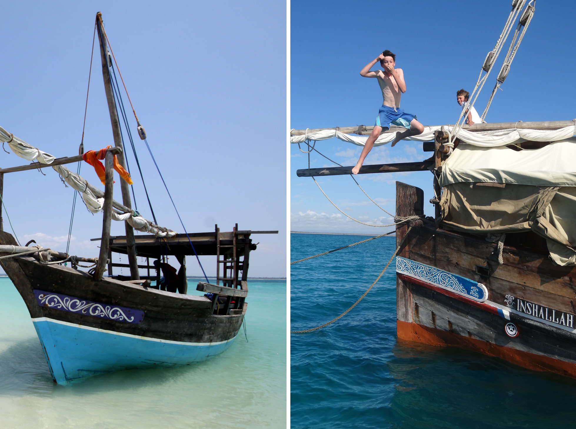 Dhow safari northern mozambique boat boy jumping