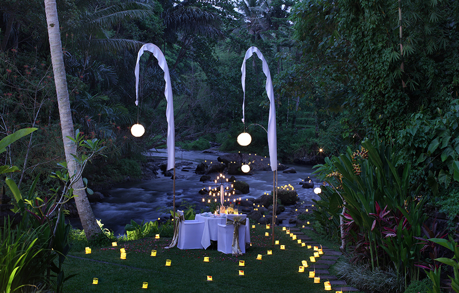 Romantic dinner by the river the samaya ubud