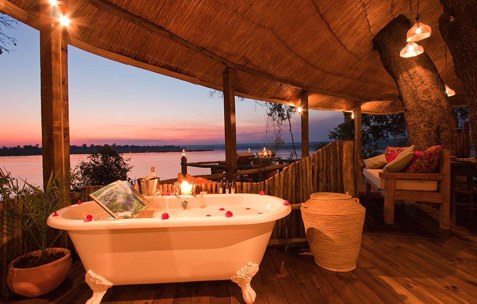 Zambia Tongabezi bath with a view