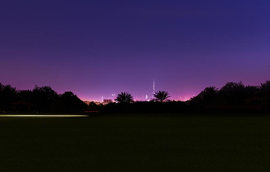 Dubai desert palm skyline